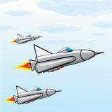 Flying jet fighter with missile. Vector illustration of war plane in sky Royalty Free Stock Photos