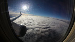 Flying on jet plane stock video footage