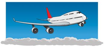 Flying Jumbo Jet royalty free stock image