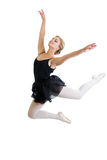 Flying or jumping dancer girl isolated. On white Royalty Free Stock Photography