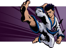 Flying Karate Kick. Young martial artist performs a flying karate kick Stock Photo
