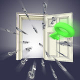 Flying keys opening door abstract Stock Photos