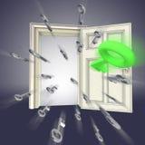 Flying keys opening door abstract Stock Photos