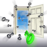 Flying keys opening door concept Royalty Free Stock Photos