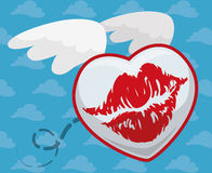 Flying Kiss in Blue Cloudy Background, Vector Illustration royalty free stock image