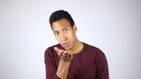 Flying Kiss, Expressing Love, Gesture by Young Afro-American Man Stock Photography