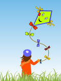 Flying a kite Royalty Free Stock Image