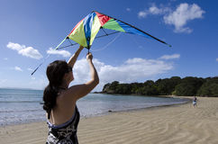 Flying a kite Stock Photos
