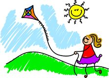 Flying a kite Stock Image