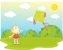 Flying a kite Stock Images