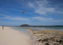 Flying kite above sandy beach
