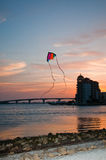 Flying kite by the bay stock images