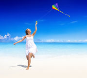 Flying Kite Beach Summer Playful Concept Stock Photo