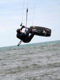 Flying kite boarder Stock Photo