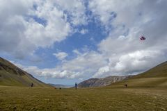 Flying kite at Buttermere Stock Photos