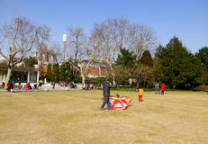 Flying a kite inside Zhongshan Park Royalty Free Stock Photography
