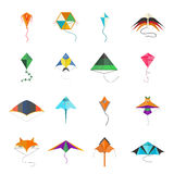 Flying kite vector collection Isolated on a white background Stock Photography