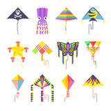 Flying kite vector collection Isolated on a white background Stock Image