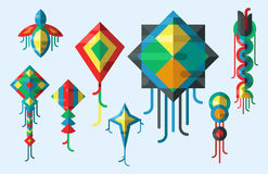 Flying kite vector illustration wind fun toy fly leisure happy isolated joy string activity play freedom game design Stock Photography