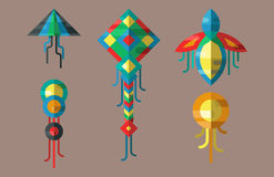Flying kite vector illustration wind fun toy fly leisure happy isolated joy string activity play freedom game design Royalty Free Stock Images