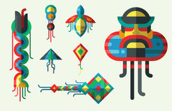 Flying kite vector illustration wind fun toy fly leisure happy  joy string activity play freedom game design Stock Image