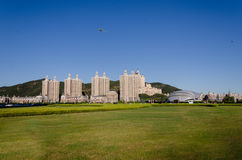 Flying kites and apartment buildings at Xinghai Square in Dalian Royalty Free Stock Image