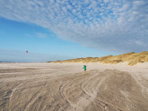 Flying kites on the beach of denmark, europe Royalty Free Stock Images