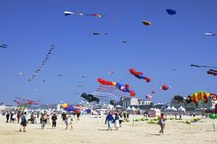 Flying kites festival, Berck-sur-Mer, France, 2011 Royalty Free Stock Images