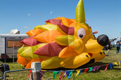 Flying kites. NORDEN-NORDDEICH, GERMANY - MAY 26, 2017: International Kite Festival with numerous flying kites at the beach on May 26, 2017 in Norden-Norddeich Royalty Free Stock Images