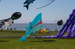 Flying kites. NORDEN-NORDDEICH, GERMANY - MAY 26, 2017: International Kite Festival with numerous flying kites at the beach on May 26, 2017 in Norden-Norddeich Royalty Free Stock Photo