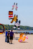 Flying kittens and other  kites at michigan kite fest Royalty Free Stock Image