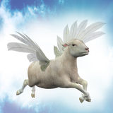 Flying lamb illustration Royalty Free Stock Images