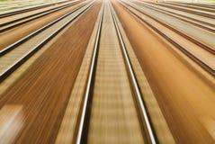 Flying Landscapes through train window. Symbolizing speed Stock Photo