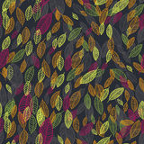 Flying leaves card, vector seamless pattern background Stock Image