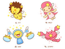 Flying Leo and Virgo, Libra and Scorpio Mascot Stock Image