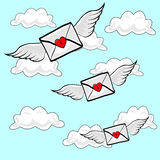 Flying Letters Heart Wings. Valentines Letters sealed with a heart lock, flying on Angel Wings though cloudy blue sky royalty free illustration
