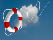 Flying life preserver for first help Royalty Free Stock Photo