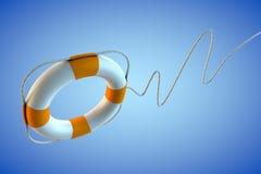 Flying Lifebelt on Blue Background. Flying lifebelt with curved rope on blue background - rescue operation Stock Photos