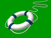 Flying lifebuoy. Flying life preserver with adaptive background Royalty Free Stock Photography