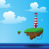 Flying lighthouse illustration Royalty Free Stock Image