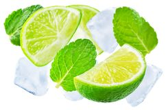Flying Limes with ices and mint leaves isolated Stock Images