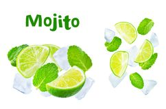 Flying Limes with ices and mint leaves on a white background royalty free stock image