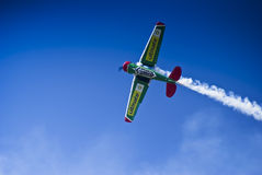 Flying Lion - ZU-BMC - Barrel Roll Maneuver. One of the Castrol Flying Lions Harvard aerobatic team, who treated spectators to a marvelous display of formation Stock Photos