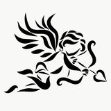 Flying little Cupid with a bow, arrow and heart.  Stock Photography