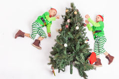 Flying little elves decorating Christmas tree. Santa's helpers. Flying little elves decorating Christmas tree. Boys dressed in elf costume. Santa's helpers Stock Images