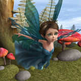 Flying Little Fairy Butterfly. 3D digital render of a beautiful flying little fairy butterfly in a fantasy forest Royalty Free Stock Photo