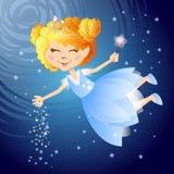 Flying little fairy in night sky. Vector illustration. Postcard Stock Photography