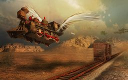 Flying locomotive vector illustration