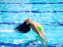 Flying long hair in swimming pool in summer Royalty Free Stock Photography
