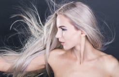 Flying long violet grey hair Stock Image